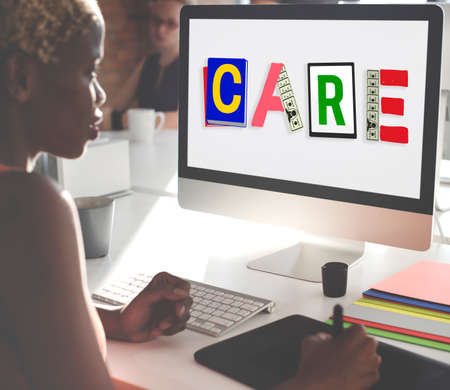 african woman at work: Care Assurance Protection Help Charity Security Concept