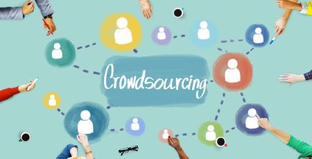 crowdsource: Crowdsourcing Collaboration Information Content Concept Stock Photo