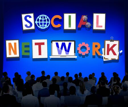 chat room: Social Network Communication Connection Technology Concept Stock Photo