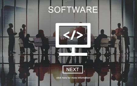 business software: Software Business Data Development Digital Concept Stock Photo