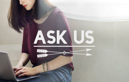 enquire: Ask Us Enquire Message Communicate Concept