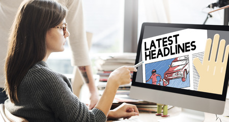 the latest: Latest Headlines Breaking Communication Inportant Concept Stock Photo