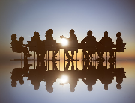 mixed age: Group of Business People Meeting Stock Photo