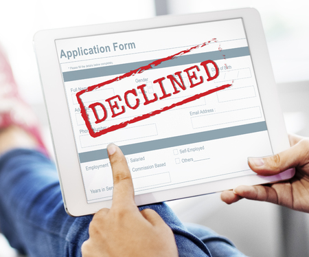 rejected: Rejected Declined Negative Document Form Concept Stock Photo