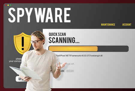 Spyware concept with a man presenting 스톡 콘텐츠