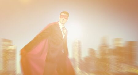 powerful: Strong Powerful Business Superhero Cityscape Concept Stock Photo