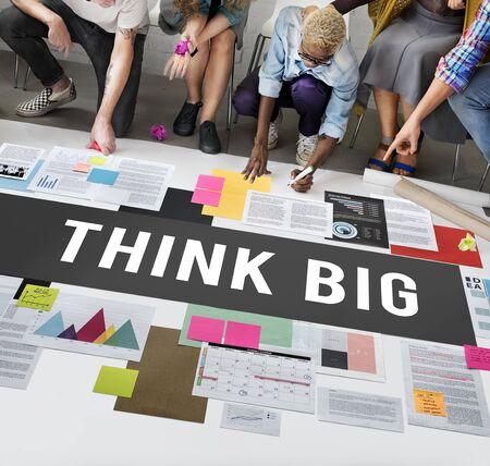 think big: Think Big Attitude Inspiration Concept Stock Photo