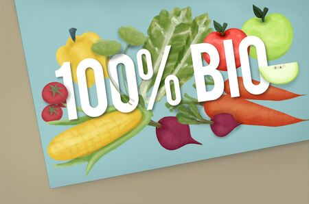 good food: 100% Bio Good Food Eat Well Concept