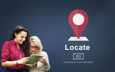 campus tour: Locate Location Direction Navigation Position Trip Concept Stock Photo