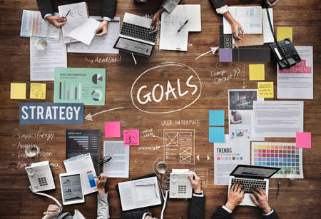 man business oriented: Goals Aim Inspiration Mission Target Vision Concept Stock Photo