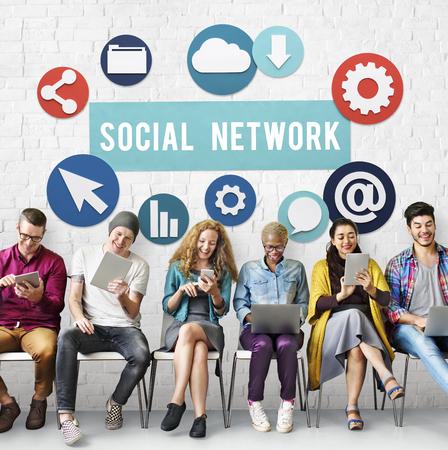 Red de medios de comunicación social el concepto de conexión a Internet