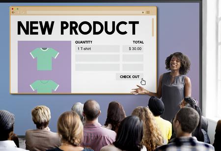Lanzamiento de nuevo producto de promoción de marketing Concepto Servicios Foto de archivo