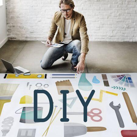 Do It Yourself Project Graphics Concept Reklamní fotografie
