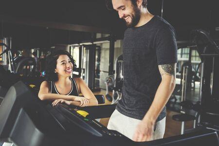 sportwear: Workout Couple Sport-wear Muscular Hobby Concept