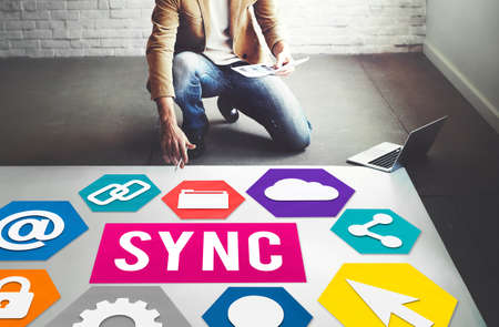 correspond: Technology Sync Word Graphic Concept