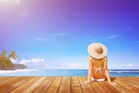 Relaxation Beach Woman Vacation Outdoors Seascape Concept Фото со стока - 59155717