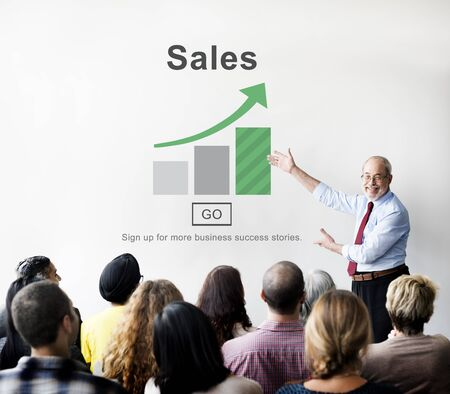 sales growth: Sales Selling Commerce Cost Marketing Retail Sell Concept Stock Photo