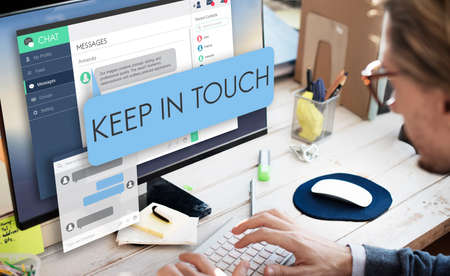 keep in touch: Keep in Touch Follow Communication Connect Concept Stock Photo