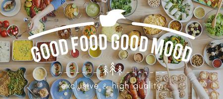 negocios comida: Buena comida, buena Concepto de la comida del estado de ánimo