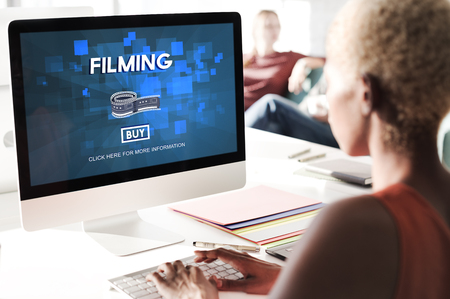filming: Filming Cinema Media Movie Production Studio Concept