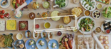 mediterranean food: Brand Branding Logo Label Rectangle Concept
