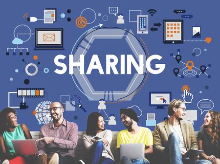 asian friends: Sharing Social Media Technology Innovation Concept