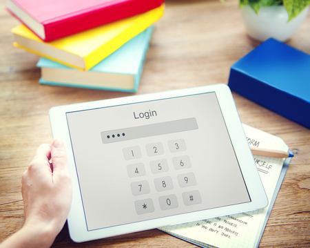 log in: Log in Secured Access Verify Identity Password Concept Stock Photo
