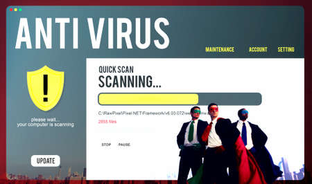 antivirus: Antivirus Alert Firewall Hacker Protection Safety Concept