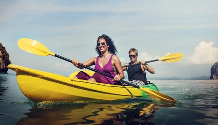 activity holiday: Kayaking Fun Activity Holiday Recreation Concept