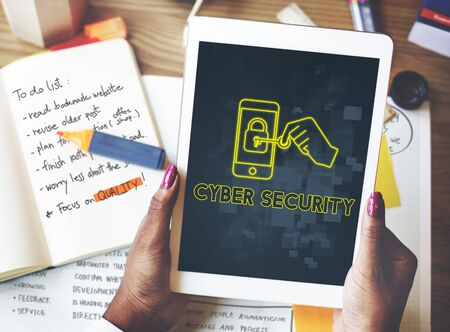 online safety: Cyber Security Online Safety Graphic Concept Stock Photo