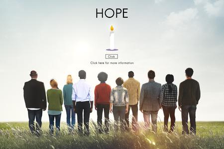juventud: Espero crea creencia Imagínese Orar Confianza Tempel Concept