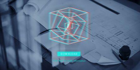 dimensional: 3D Three Dimensional Futuristic Display Modern Concept