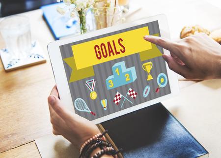 Goals concept on a digital tablet