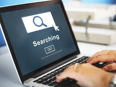 looking for work: Searching SEO Homepage Navigation Information Concept Stock Photo