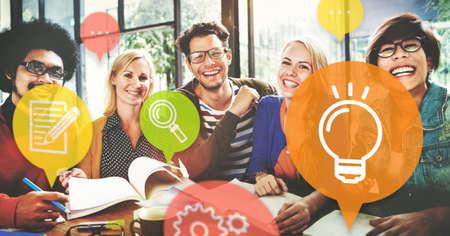 teamwork concept: Ideas Lightbulb Innovation Learning Concept Stock Photo