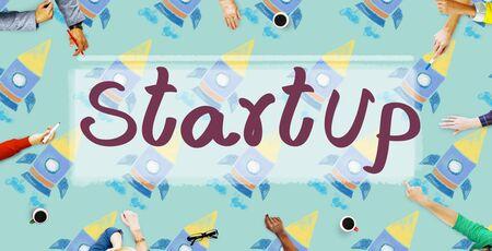 start up: Start Up Launch Business Strategy Development Concept Stock Photo