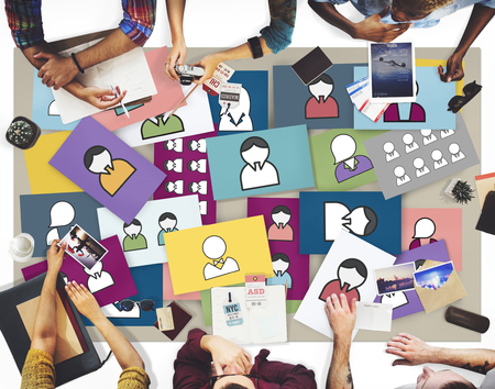 user interface: Avatar Profile User Interface Social Media Networking Connection Concept Stock Photo