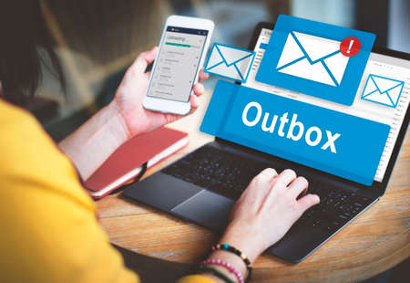 outbox: Outbox Business Communication Envelope Mail Concept Stock Photo