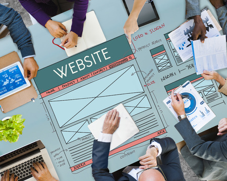 Business meeting with website concept