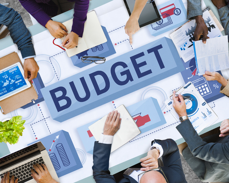 Business meeting with budget concept Stockfoto