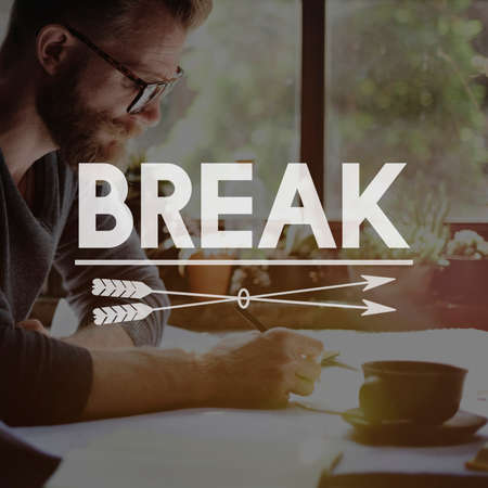 break out: Break Time Out Pause Stop Relax Concept Stock Photo