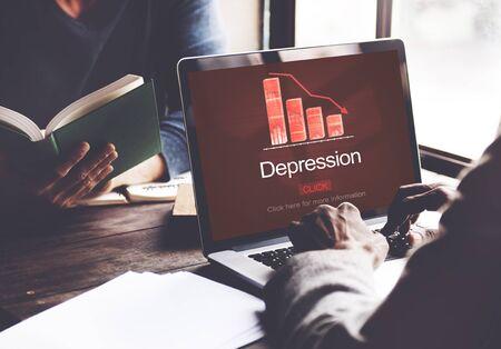 downturn: Depression Disorder Downturn Illness Medicine Concept