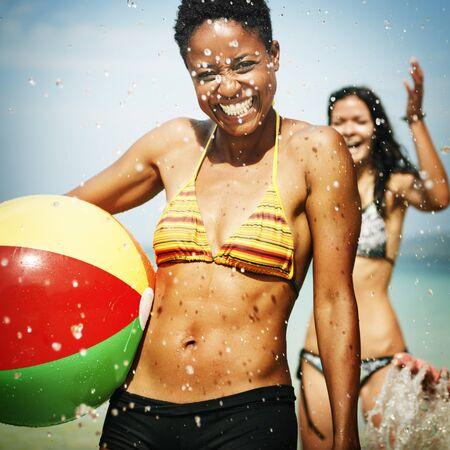 best travel destinations: Girl Leisure Beach Ball Happiness Holiday Joy Concept Stock Photo
