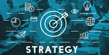 business game: Strategy Target Mission Objective Graphics Concept Stock Photo