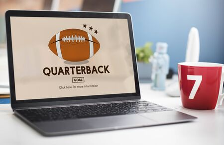 cut out device: Quaterback American Football Athlete Game Concept Stock Photo
