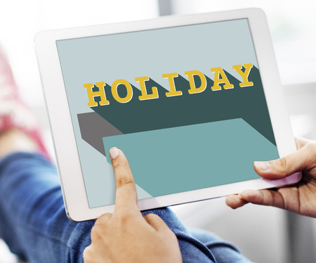 Holiday concept on digital tablet Stock Photo