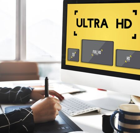 hd: Ultra HD Definition Monitor Resolution Screen Concept Stock Photo