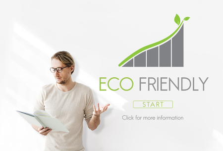 Man presenting with eco friendly concept Reklamní fotografie