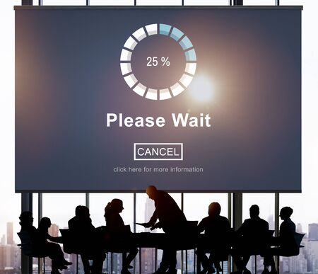 Please Wait Loading Waitng Trasfer Anticipation Concept Stock Photo