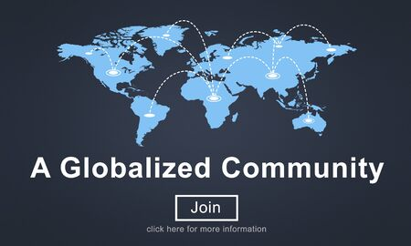 globalized: A Globalized Community Social Networking Society Concept Stock Photo